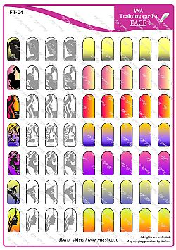 FACE -TRAINING CARDS  NAIL ART